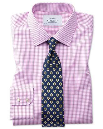 Slim fit non-iron grid check pink shirt