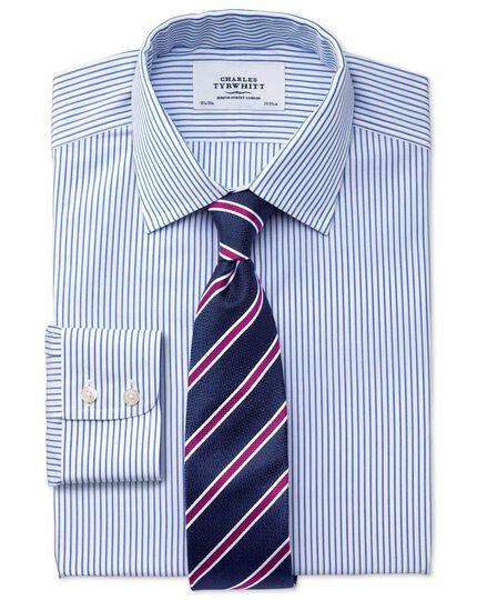 Chemise blanche et bleue coupe droite à rayures sans repassage