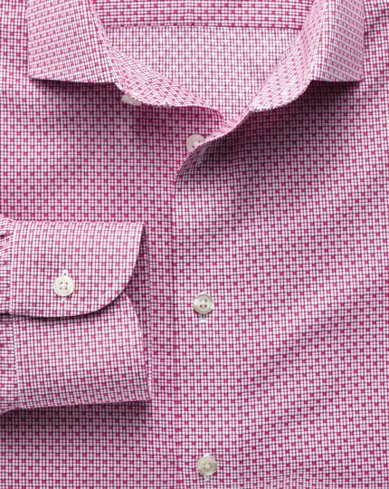 Extra slim fit semi-cutaway collar non-iron business casual grid check magenta shirt