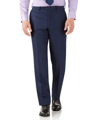 Pantalon de costume business bleu roi coupe droite en flanelle