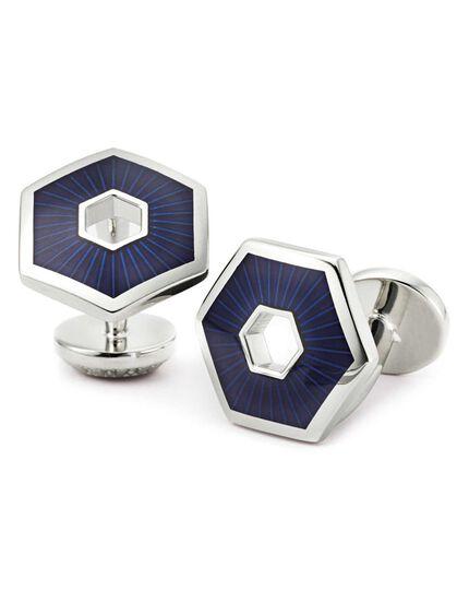 Navy hexagon cufflinks