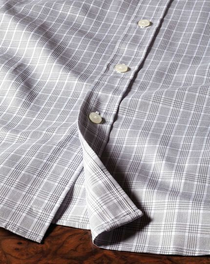 Slim fit Prince of Wales silver shirt