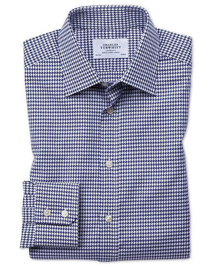 Classic fit large puppytooth blue shirt
