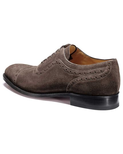Dark grey Parker suede toe cap brogue Oxford shoes