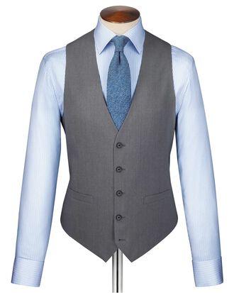 Silver twill business suit vest