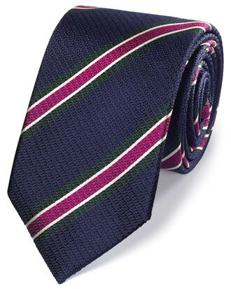 Navy and pink silk textured stripe classic tie