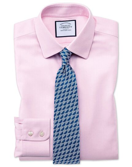 Extra slim fit non-iron step weave pink shirt