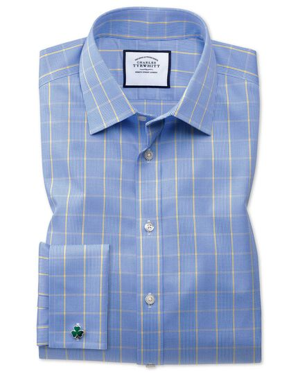 Extra slim fit non-iron Prince of Wales blue and gold shirt
