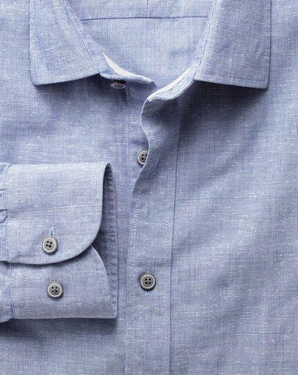 Slim Fit Hemd aus Slub Baumwolle in Blau