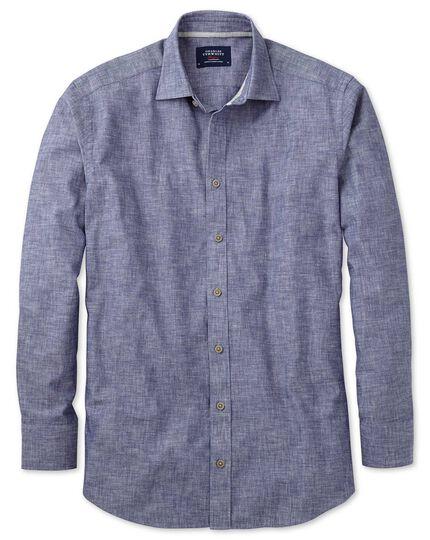 Slim fit chambray navy textured shirt