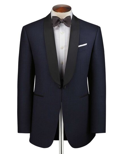 Navy and blue slim fit shawl collar tuxedo suit jacket