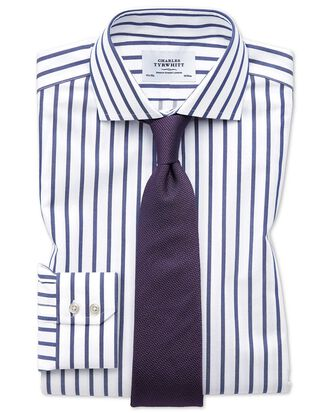 Slim fit spread collar non-iron Bengal wide stripe white and blue shirt