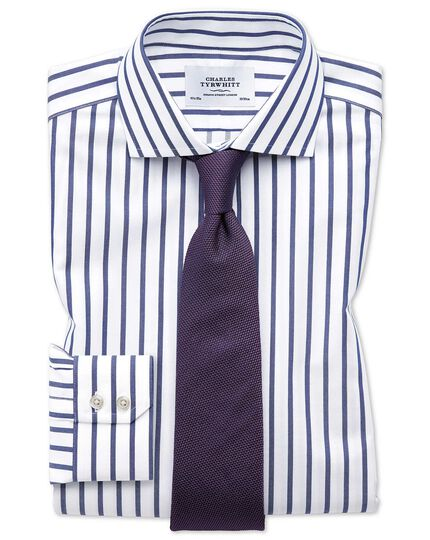 Slim fit cutaway non-iron Bengal wide stripe white and blue shirt