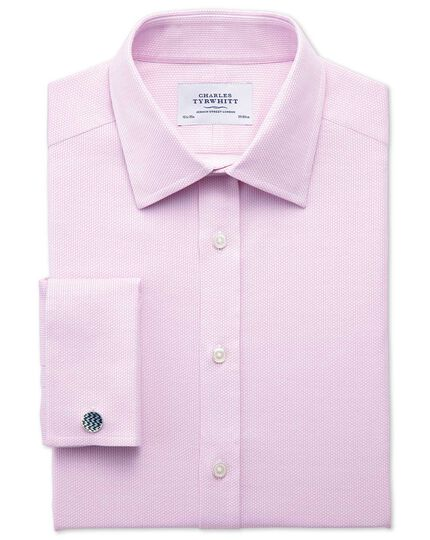 Slim fit Egyptian cotton diamond texture pink shirt