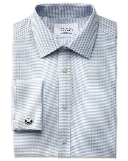 Classic fit non-iron textured check grey shirt