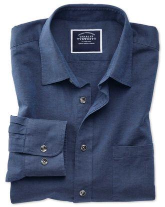 Chemise bleu marine unie en coton et lin slim fit