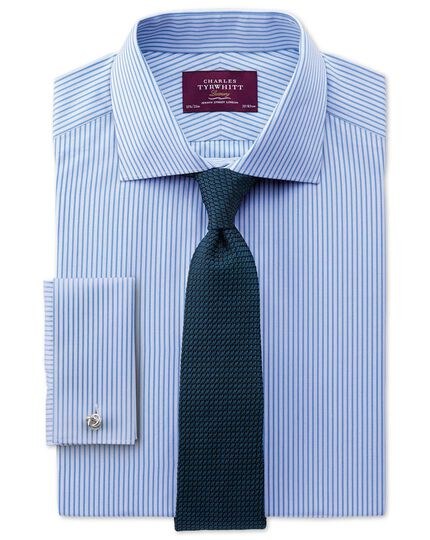 Slim fit semi-cutaway collar luxury poplin stripe sky blue shirt
