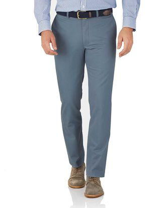 Light blue classic fit flat front weekend chinos