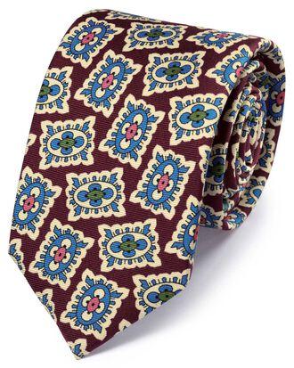 Burgundy and blue silk medallion print English luxury tie