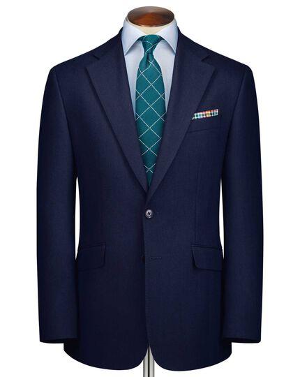 Royal blue slim fit herringbone business suit jacket