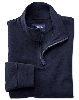 Pull bleu marine en jersey avec col camionneur
