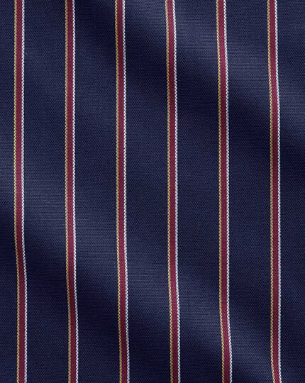 Classic fit semi-spread collar business casual boating navy and red stripe shirt