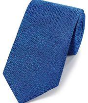Royal blue silk textured English luxury tie