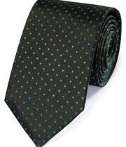Klassische Seidenkrawatte in Grün und Blau mit kleinen Punkten