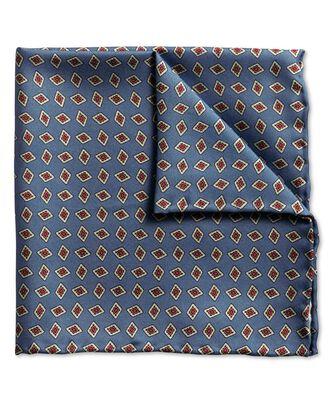 Mid blue diamond print luxury pocket square