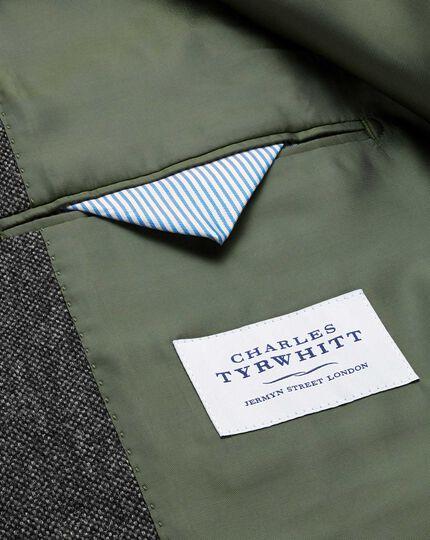 Slim fit charcoal lambswool hopsack jacket