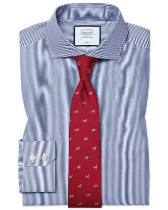 Extra slim fit cutaway non-iron Bengal stripe navy blue shirt