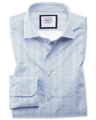 Chemise business casual blanche et bleue coupe droite à petites fleurs et col semi-cutaway