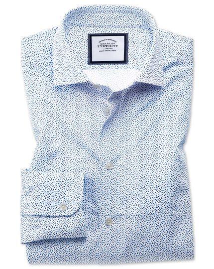 Chemise business casual blanche et bleue extra slim fit à petites fleurs et col semi-cutaway