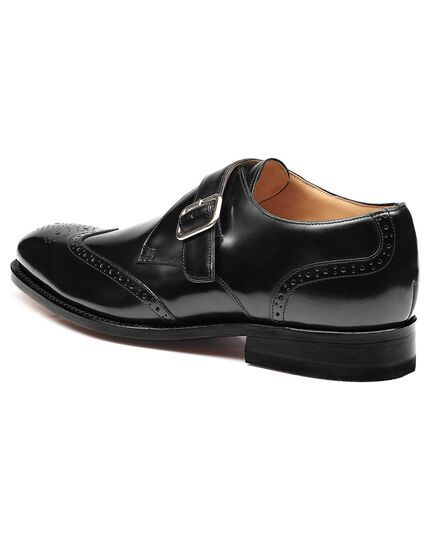 Black Compton wingtip brogue monk shoes