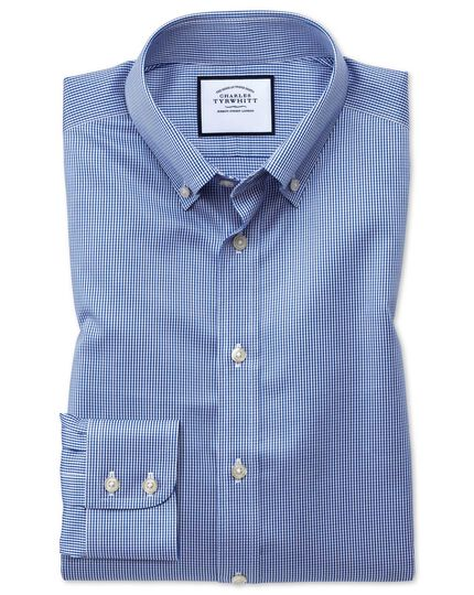 Classic fit button-down non-iron twill puppytooth royal blue shirt