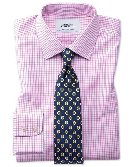 Slim fit non-iron grid check pink shirt