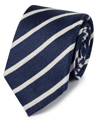 Cravate classique bleu marine en lin et soie à rayures