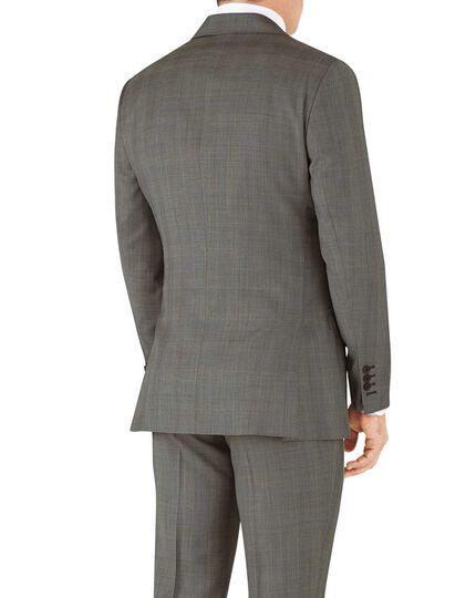 Veste de costume de luxe argent en tissu peau de requin italien slim fit avec carreaux