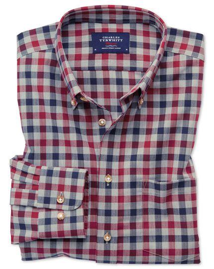 Bügelfreies Classic Fit Twill-Hemd in Rot und Marineblau mit Gingham-Karos