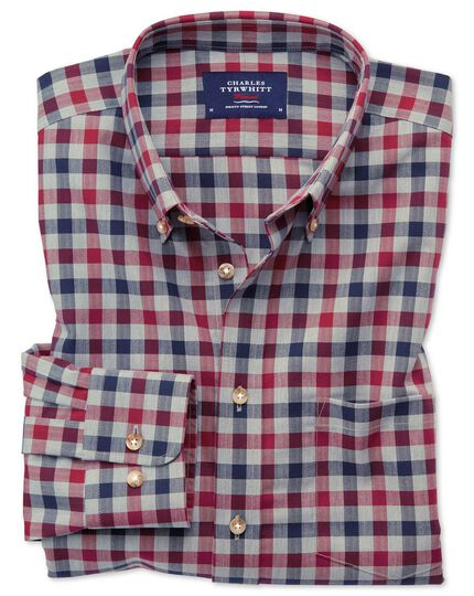 Slim fit button-down non-iron twill red and navy gingham shirt