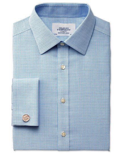 Extra slim fit non-iron textured blue check shirt
