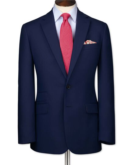 Blue slim fit basketweave business suit jacket