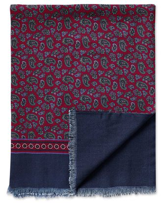 Écharpe bordeaux en laine à motif cachemire