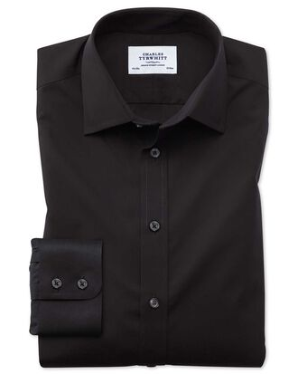 Classic fit non-iron poplin black shirt