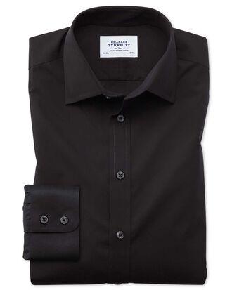 Chemise noire en popeline coupe droite sans repassage
