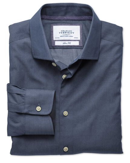Extra slim fit semi-cutaway collar business casual blue shirt