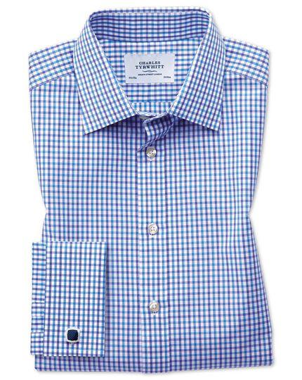 Slim fit two color check blue shirt