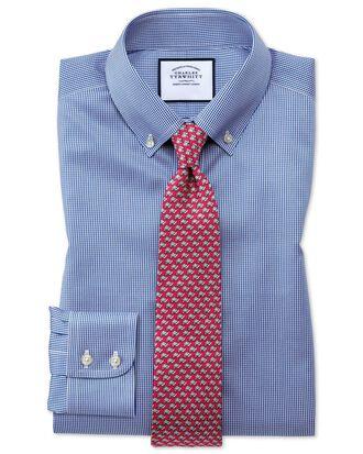 Chemise bleue roi pied-de-poule en twill coupe droite à col boutonné sans repassage