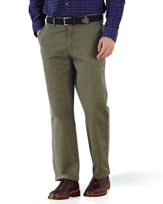 Olive classic fit flat front chinos