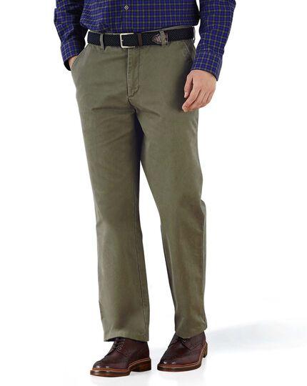 Pantalon chino olive coupe droite à devant plat